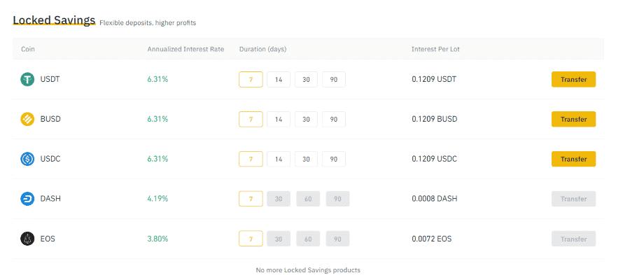Binance fixed savings account cryptocurrencies and rates screenshot