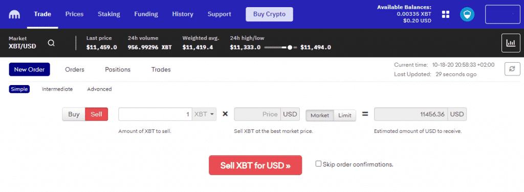 How to exchange bitcoin to USD on kraken exchange
