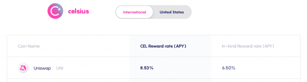 Celsius Network with the best uniswap interest account with highest ROI